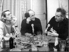 Brel - Ferré - Brassens le 6 janvier 1969 photo Jean-Pierre Leloir. Brel fumait des Gitanes, Ferré des Celtiques et Brassens la pipe