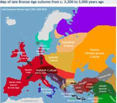 Map of late bronze age cultures from c. 3,200 to 3,000 years ago