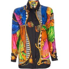 GIANNI VERSACE VINTAGE printed silk shirt ($550) ❤ liked on Polyvore