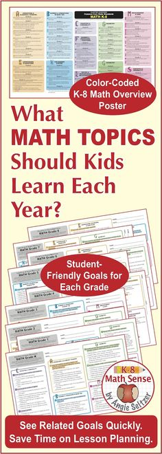 This resource aligns to Common Core standards but is also helpful if your curriculum is a variation. You'll get 50-60 clear goals for each grade K-8! It's a time-saver for teachers, parents, or anyone else who needs to know which topics are required at each level. Domains are color-coded and have letter-shaped icons so you can find topics quickly. Comes with an editable goals list. ~by Angie Seltzer