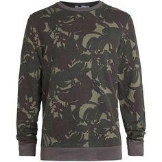 TOPMAN Khaki Camouflage Sweatshirt (780 MXN) ❤ liked on Polyvore featuring men's fashion, men's clothing, men's hoodies, men's sweatshirts, jason foster and mens camo sweatshirt
