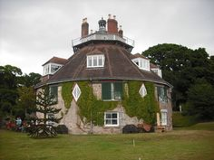 A La Ronde, a 16 sided house from 1796 in Devon, UK. Two female cousins had this house built so that they could make the most of the English sunshine - they would move from room to room following the sun.They built a shell grotto at the top of the house and filled the rooms with artwork and collected displays.