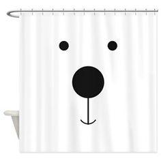 Minimalist Polar Bear Face Shower Curtain