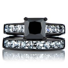 Ellyn's Black Wedding Ring Set - Faux Diamond $99.99  CLICK THE PIC and Learn how you can EARN MONEY while still having fun on Pinterest
