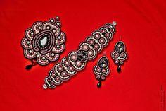 сутажный комплект: кулон, браслет и серьги