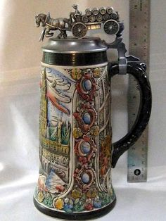 German Beer Stein Pewter Beer Wagon
