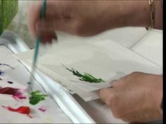 painting quick grass and flowers with a fan brush