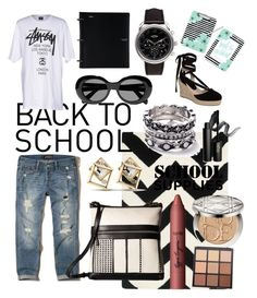"""""""#backtoschool"""" by regina-eghie on Polyvore featuring Safavieh, Hollister Co., Stussy, Hermès, WithChic, Acne Studios, Elliott Lucca, Topshop, tarte and Christian Dior"""