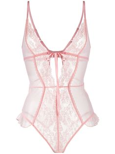 Peach pink Elm Row floral lace body from Myla. Featuring a sheer construction, a front lace-up detail, a ruffle trimming, a deep V neck, adjustable shoulder straps and a rear clasp fastening. Underwear and lingerie must be tried on over your own garments. Designer Lingerie, Luxury Lingerie, Women Lingerie, Pink Lingerie, Lingerie Outfits, Wedding Lingerie, Pretty Lingerie, Beautiful Lingerie, Candice Swanepoel