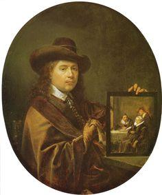 Zelfportret ca. 1650. Herzog Anton Ulrich-Museum, Braunschweig. Dou is hier rond de 37 jaar. Op het schilderij dat hij vasthoudt staan waarschijnlijk zijn ouders en broer Jan afgebeeld. Van dit schilderij is een variant van Dou met schilderij van Rembrandts vader.