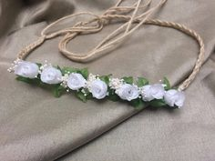 white roses crown, boho wedding halo crown headband, flower girl crown halo, photo props, baby halo headband, newborn tieback by CreatedbyAggie on Etsy
