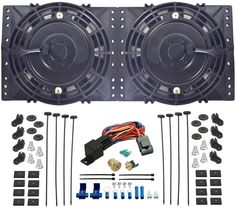 """Dual 6"""" Inch Electric Fans 3/8"""" Thermostat Switch Kit Dirt Street Strip Race Rod"""