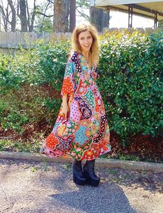 this is the coolest fabric mum scored in a bidding war online. legit 1970s stunning textile. the print is everything. super soft and flowy. shown on xs/s 5 foot 3 model. the dress is adjustable due to interior tie just under bust. fits up to womens medium/large. 1970s cool.