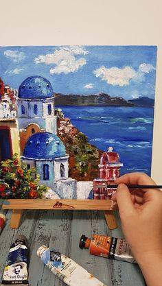 Magnificent Santorini original oil painting on canvas on hardboard. Simple Canvas Paintings, Small Canvas Art, Small Paintings, Large Painting, Oil Painting On Canvas, Poster Color Painting, City Painting, Scenery Paintings, Seascape Paintings