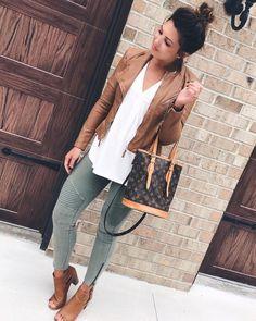 Brown leather jacket, white tee, gray skinnies, LV bag, open toe booties