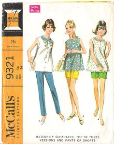 Vintage 1960s Maternity Separates Sleeveless Top, Pants and Short Sewing Pattern, McCall's 9321, GrandmaMadeWithLove on Etsy $8.00