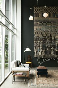 Double Height Living Area. Grey wall colour.