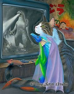 cat and dragon watching monster movie on tv -  Sarah Clemens www.clemensart.com