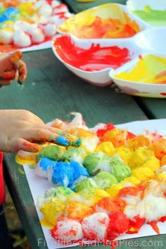 Dipped Cotton Balls Rainbow Craft - Fireflies and Mud Pies