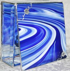 Love this stained glass!  It's my favorite color!  *****  Stained Glass Jewelry Box Cobalt Blue and White Baroque 6x6 w/ Two Pewter-cast Apple Blossom Flowers Handmade