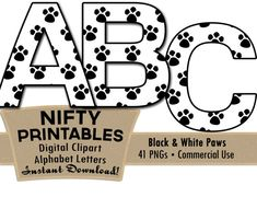 Paw Prints Alphabet Letters Set, instant download, by NiftyPrintables, $2.75. #paws #animals #cats #dogs #scrapbooking