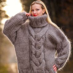 12 strands hand knitted sweater in grey