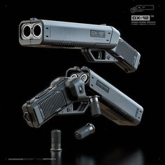 'Punisher' - The double-barreled shotgun-pistol - Sci Fi Weapons, Weapon Concept Art, Fantasy Weapons, Weapons Guns, Guns And Ammo, Zombie Weapons, Survival Weapons, Survival Gear, Future Weapons