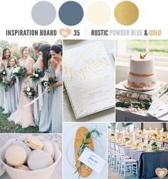 Rustic Powder Blue, Cream and Gold Inspiration Board