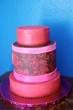 Pink damask on chocolate
