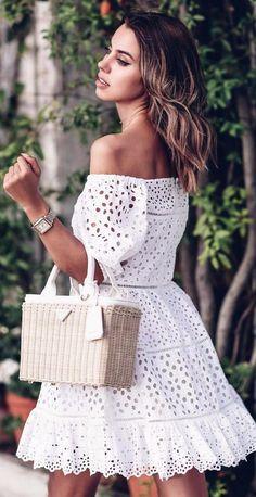 Little White Eyelet - White Dresses - Ideas of White Dresses - Off the shoulder white eyelet mini dress Prada basket tote bag White Dress Summer, Little White Dresses, White Outfits, Summer Outfits, White Lace Dresses, White Dress Outfit, Stylish Outfits, Fall Outfits, Cute Dresses