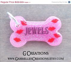 ON SALE Pink Kisses Bone Dog Tag  Cute by GabriellesCreations