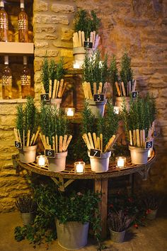 Table plan styled using potted herbs.  http://www.debsivelja.com/