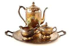 Vintage Silverplate Tea Set with Tea Pot Tray Sugar by ThirdShift