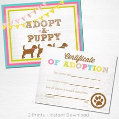 Adopt a Puppy and Certificate of Adoption Pink Mustard Aqua Olive Green Lab Dog Birthday Party YOU PRINT  This is an example of what we can do, if you want to tweak these files or change the colors please let us know before purchase. What you are buying is an instant download file. Nothing will be shipped to you.  You will receive two files: Adopt a Puppy 8x10 Adoption Certificate 8.5x11.5 (letter size)  Please let us know if you have any questions, were happy to help