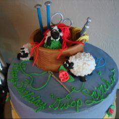 Knitting birthday cake Pretty Cakes, Cute Cakes, Knitting Cake, Cake Decorating, Birthday Cake, Sweets, Crafty, Desserts, Recipes