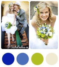 Paleta de colores para boda verde y azul
