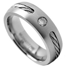6MM Men's Titanium Ring Wedding Band with Stainless Steel Cables and Cubic Zirconia Sizes 8 to 12 Metal Masters Co.. $29.99. 30-Day Money Back Guarantee. Comfort Fit. Stainless Steel Cable Inlay. Comes with a FREE Ring Box!!. Genuine Titanium