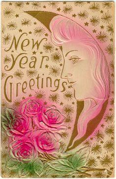 New Year Greetings Vintage Card