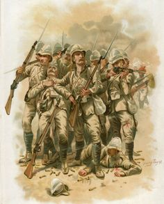 Last stand of the 'Eleven' from the 66th Regiment at the Battle of Maiwand on 26th July 1880 in the Second Afghan War: picture by Harry Payne