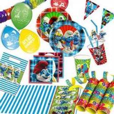 RZOnlinehandel - Partyset Schlümpfe für bis zu 8 Kinder - 75-teilig Party Set, Birthday