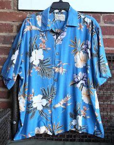 Thums Up Bird of Paradise Hibiscus 2X Men's Hawaiian Shirt Blue Lavender #ThumsUp #Hawaiian