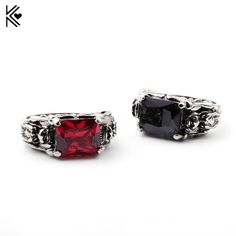 644007fa644 Vintage Mens Rings Red Black Large Crystal Ring For sale