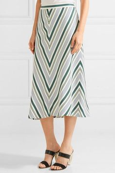 Tory Burch - Villa Striped Satin-twill Midi Skirt - Off-white