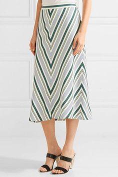 2dab7e1e8c Tory Burch - Villa Striped Satin-twill Midi Skirt - Off-white White Satin
