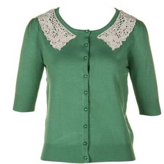 darling Womens Rachel Green Cardigan ($18) ❤ liked on Polyvore featuring tops, cardigans, sweaters, outerwear, shirts, women, embellished cardigan, green 3/4 sleeve baseball shirt, rayon shirts and embellished shirt