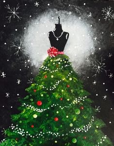 Join us for a Paint Nite event Sat Dec 2018 at 14405 Baltimore Ave Laurel, MD. Purchase your tickets online to reserve a fun night out! Christmas Paintings On Canvas, Christmas Canvas, Christmas Art, Christmas Decorations, Xmas, Wine And Canvas, Paint And Sip, Diy Painting, Thumb Painting