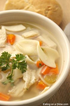 CopyCat Panera Bread Chicken Noodle Soup Recipe - Eating on a Dime