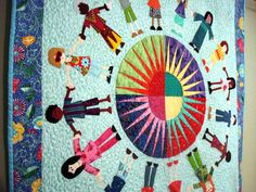 Quilted Wall Hanging Of Children Around the World by uniquelynancy
