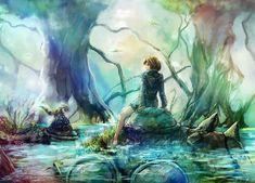 Not Mine But I Love This painting Of Nausicaa & Teto. Nausicaa And Teto Hayao Miyazaki, Nausicaa, Studio Ghibli Movies, Film D'animation, Another Anime, Howls Moving Castle, Fan Art, Movie Wallpapers, Anime Films