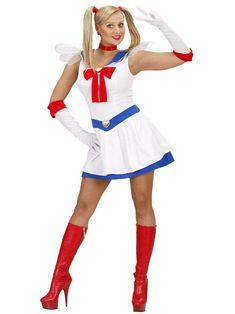 Déguisement manga sailor femme : Ce déguisement de manga pour femme se compose d'une robe, d'une paire de gants et d'un ras le cou (chaussures non incluses). La robe courte est blanche avec une collerette de...